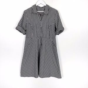 Black and White Gingham Button Up Dress